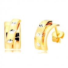 14K kombinierte Gold Ohrringe - breiterer Bogen mit mattem Halbkreis, Ohrstecker
