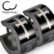 Schwarze Edelstahlcreolen mit Lilienkreuz in silberner Farbe