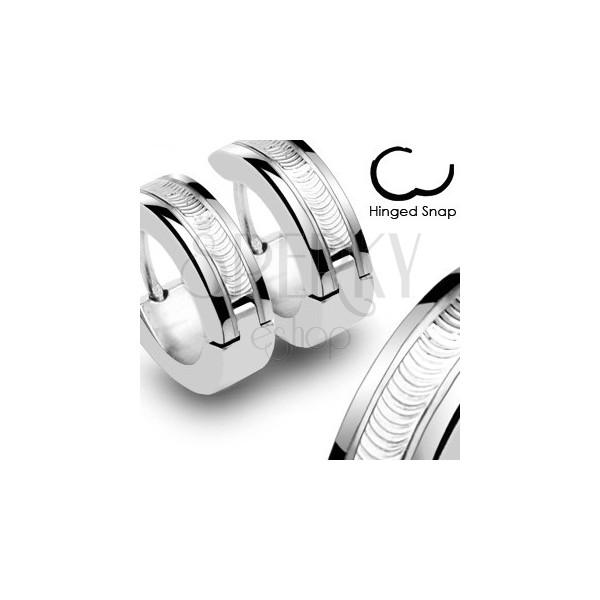 Ohrringe aus Chirurgenstahl - silberne Farbe mit schmuckvollen Streifen