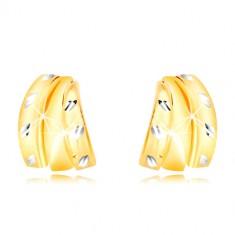 Kombinierte 14K Gold Ohrringe - drei Halb-Bogen und Körner, Ohrstecker