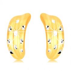 14K Gold Ohrringe – atypischer Bogen mit Kerben und Kreuzen aus Weißgold
