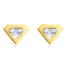 Ohrringe aus 585 Gold - geschliffener Zirkon mit Goldrand, Diamant-Motiv