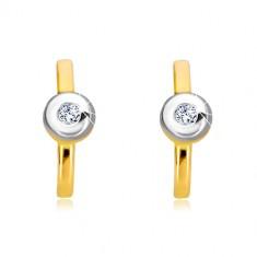 14K Gold Diamantohrringe - Streifen mit einem Brillanten in einer Fassung aus Weißgold