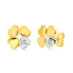 585 Gold Diamantohrringe - vierblättriger Glücksklee, Herz mit einem Diamanten