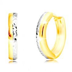 Kombinierte 585 Gold Ohrringe - dünner Kreis mit geschliffener Hälfte