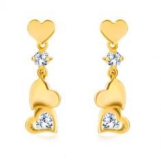 Diamant Ohrringe aus 585 Gold - kleines symmetrisches Herz mit Anhänger