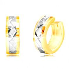 Runde 14K Gold Ohrringe - kleine Flächen, Streifen aus Weißgold, Gitter
