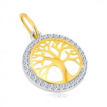 Kombinierter 14K Gold Anhänger - Kreis mit Baum des Lebens, glitzernde Zirkone