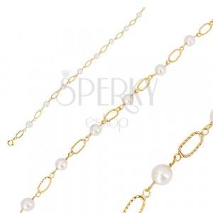 585 Gold Armband - weiße runde Perlen, ovale Glieder mit Einschnitten