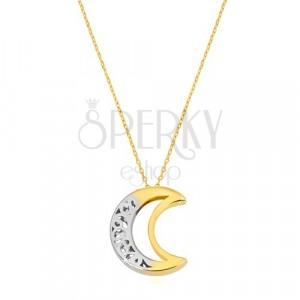 14K Gold Halskette - zweiseitige verzierte Mondsichel mit Ausschnitt
