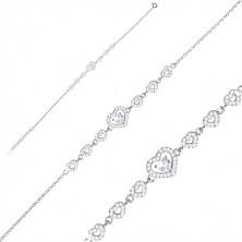 925 Silber Armband - eine Reihe aus Zirkon Herzen, größeres Herz und Zirkon