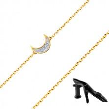 14K Gold Armband - zarte glitzernde Kette, Mondsichel mit Zirkonen besetzt