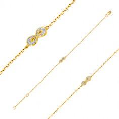 Armband aus 585 Gold - Symbol der Unendlichkeit mit kleinem rundem Zirkon