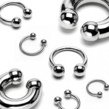 Piercing aus 316L Stahl - massives Hufeisen mit Kugeln endend, Breite 10 mm