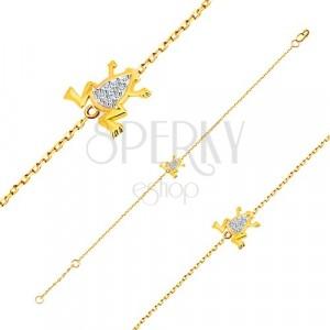 Armband aus 14K Gold - zarte Kette, Frosch aus Weißgold und Zirkonen