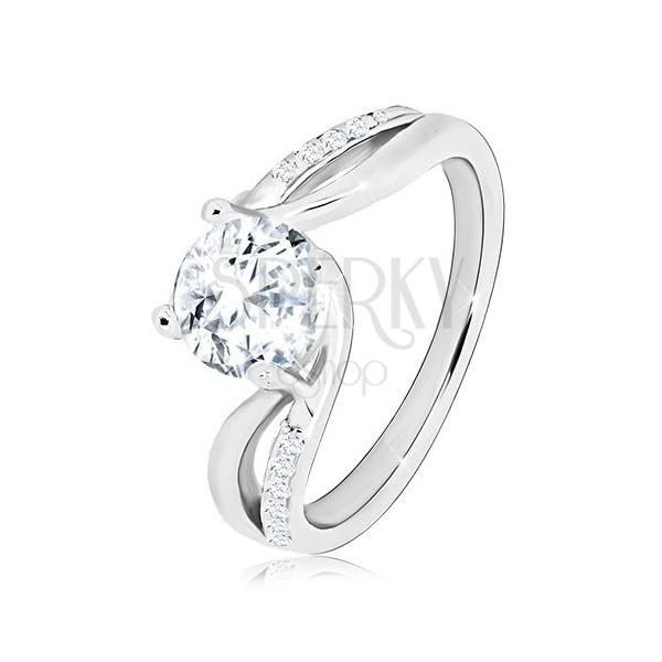 925 Silber Ring - runder glitzernder Zirkon, geteilte gewellte Ringschiene