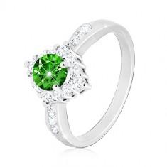 925 Silber Ring - klarer Zirkon Rhombus, runder grüner Zirkon