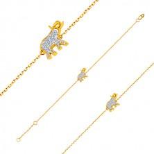 Armband aus 14K Gold - Elefant mit glitzernden Zirkonen, zarte glänzende Kette