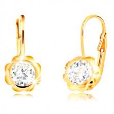 Ohrringe aus 585 Gelbgold - geschnitzte Blume mit klarem rundem Zirkon