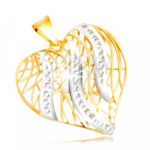 14K Gold Anhänger - Kontur eines Herzens, Flammen aus Weißgold mit Zirkonen