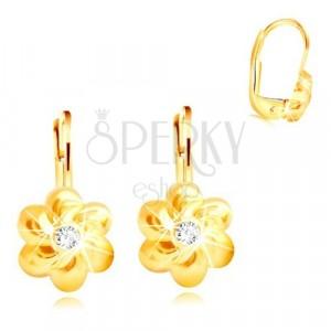 585 Gold Ohrringe - Blume mit sechs abgerundeten Blütenblättern, klarer Zirkon in der Mitte