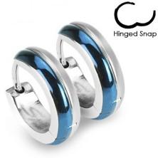 Silber-blaue Edelstahlohrringe in runder Form
