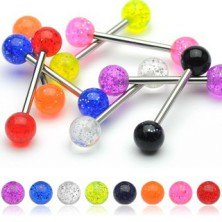 Zungenpiercing - neon Kopf mit Flittern