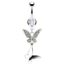 Bauchnabelpiercing - doppelter Schmetterling mit Zirkonen