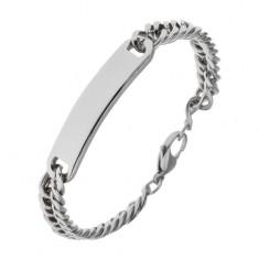 Armband aus Chirurgenstahl mit glänzendem Plättchen in silberner Farbe, 9 mm