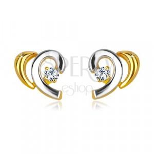 Kombinierte 14K Gold Ohrringe - halbes Herz mit einem Brillanten