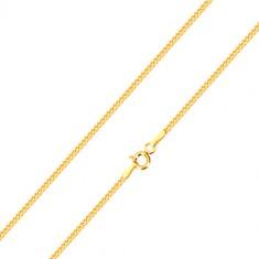Glänzende Kette aus 14K Gelbgold, Linie aus schräg verbundenen Gliedern, 500 mm