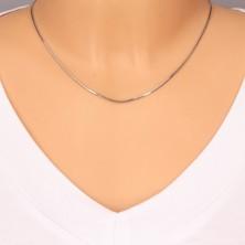14K Weißgold Halskette - dicht angeordnete Glieder, Schlangenhaut Muster, 450 mm