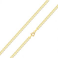 9K Gelbgold Kette - sechseckige Glieder, in Reihen verbunden, 550 mm