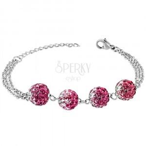 Stahl Armband - Kugeln mit Zirkonen in rosa und klarer Farbe, mehrfache Kette