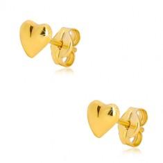 9K Gelbgold Ohrringe - glänzendes asymmetrisches Herz, Ohrsteckerverschluss
