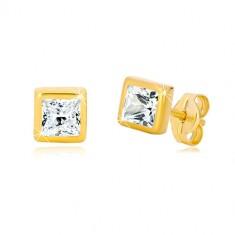 9K Gelbgold Ohrringe - Quadrat-Umriss, geschliffener quadratischer Zirkon in klarer Farbe