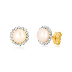 9K Gelbgold Ohrringe - glitzernde Zirkon Blume mit weißer Perle in der Mitte