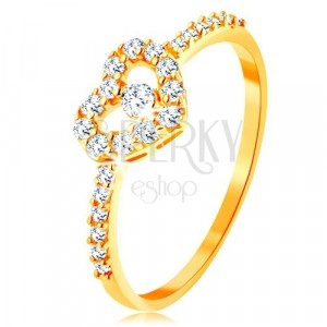 Goldener 375 Ring - Zirkoniaarme, glänzender klarer Herzumriss mit Zirkon