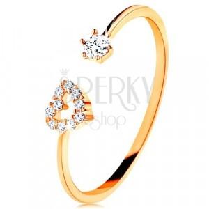 Ring aus 375 Gelbgold - glänzende Schiene mit Herzumriss und klarem Zirkon