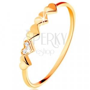 Ring in 9K Gelbgold - kleine glänzende Herzen, klare Zirkone
