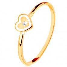 Ring in 9K Gelbgold - Herz mit weißem Rand und klarem Zirkon