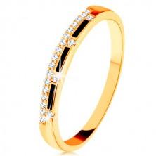 Ring aus 9K Gelbgold - klare Zirkonialinie, Streifen aus schwarzer Emaille