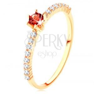 375 goldener Ring - klare Zirkonialinien, gehobener runder roter Granat