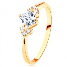Glänzender Ring in 375 Gelbgold - klares Zirkoniaquadrat, klare Steine an Seiten