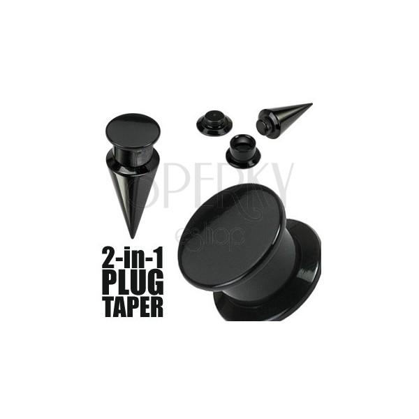 Schwarzer Taper und plug 2 in 1