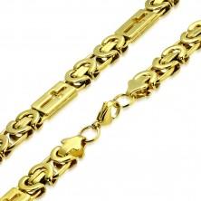 Glänzende Stahlkette in goldener Farbe - byzantinisches Muster, lateinische Kreuze