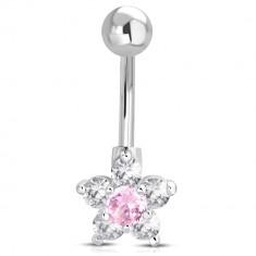 Stahl Bauchnabelpiercing - Kugel, rosa-klare Zirkon Blume