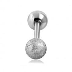 Tragus Ohr Piercing aus Stahl - glatte sandgestrahlte Kugel in silberner Farbe, 16 mm