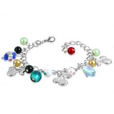 Kettenarmband mit Anhängern - Perlen mit Rosen, Kirschen, künstliche Perlen