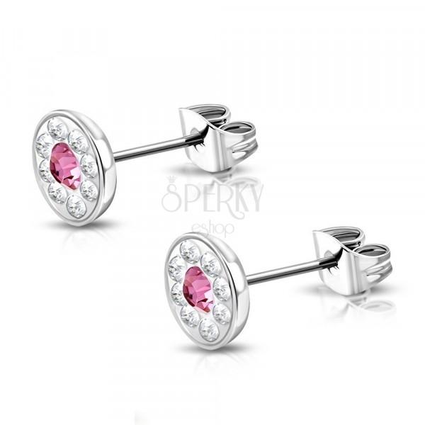 Edelstahlohrringe mit Swarovski® Komponenten, pink Zirkonia, 7 mm